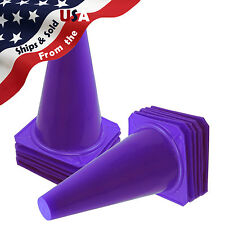 """9"""" Inch Purple Cones (Set Of 12) Sports Agility Traffic Field Road Soccer ~ Usa"""