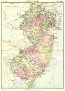 NEW JERSEY. State map showing counties. Britannica 9th edition 1898 old