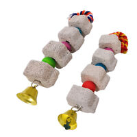 2pcs/Set Bird Chewing Toys Bell Bird Mineral Beak Grinding Stone for Parrot