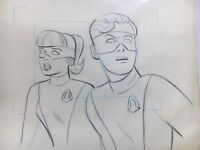 ORIGINAL 1966 SPACE GHOST ANIMATION DRAWING OF JAN & JACE, HANNA BARBERA, RARE!!