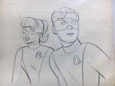 Original 1966 Space Ghost Animation Drawing Of Jan & Jace, Hanna Barbera, Rare!
