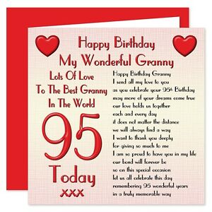My Granny Lots Of Love Happy Birthday Card Age 60 - 100 Years - Verse from Adult