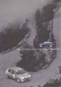 Catalogue RENAULT Clio Williams / Swiss Champion 1995 Suisse en Français