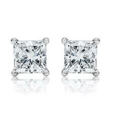Sterling Silver Square cluster Cubic Zirconia Stud Earrings