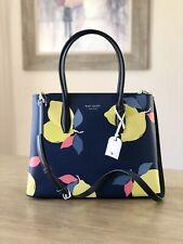 Kate Spade Eva Lemon Zest Medium Top Zip Satchel Leather Bag Blue NEW $399