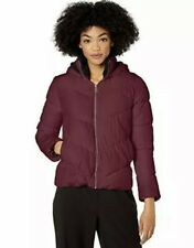 Pink Platinum Womens Burgundy Puffer Sherpa Lined Hood Jacket Size Small