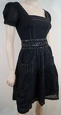 BCBG MAXAZRIA Women's Black 100% Cotton Short Sleeve Pleated Tunic Dress US0 UK4