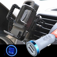 US LED Car Charger + Air Vent Mount Holder Stand Clip Cradle Dock For Cell Phone