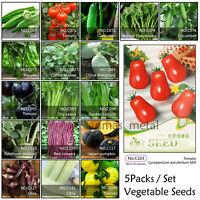 5 Packs Vegetable Garden Seeds Non Gmo/Hybrid Organic Survival Plant Bank Lots~