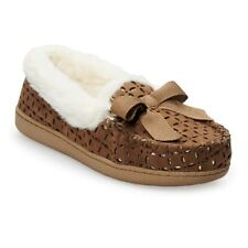 NWT SONOMA Indoor/outdoor Microsuede Moccasin Slippers - Brown - Large 9/10