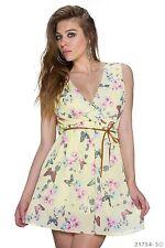 Sexy Minikleid Sommerkleid Träger Kleid Schmetterling Gelb mit Gürtel 34 36 38
