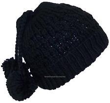 City Hunter Quality Hand Made Rib Knit Cuffed Winter Beanie W/Pom Pom #750 Black