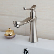 Nickel Brushed Basin Sink Faucet Stream Bathroom Mixer Deck Mounted Single Hand
