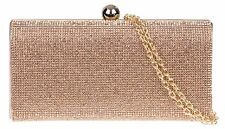 Satin Hard Case Clutch Bag Diamante Wedding Rose Gold Prom Glitz Prom Evening