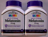 21st Century Quick Dissolve Melatonin 10mg 120ct -2 Pack - Exp. Date 08-2022