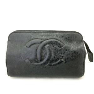 CHANEL CC Logo Caviar Skin Cosmetic Pouch Bag /E1236