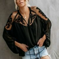 L NWT Bohemian Black Lace Tunic Festival Vtg 70s Insp Blouse Top Women's LARGE