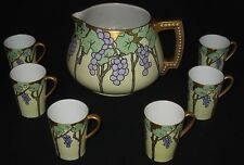 ANTIQUE HP LEMONADE CIDER 7-PIECE SET PITCHER & 6 CUPS GRAPE CLUSTER w/GOLD