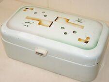 Schöne alte Emaille Brotdose, Email Brotkasten, Art Deco Spritzdekor