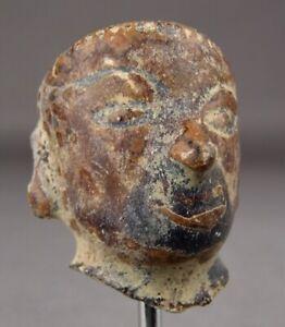 14-16thC SAWANKHALOK CERAMIC HEAD Clay Figure Thailand Thai Sculpture Buddha 1