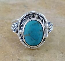 LARGE .925 STERLING SILVER TURQUOISE POISON RING size 8  style# r2213