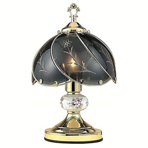 Black Smoke glass Floral Brass finish 3 way Touch Lamp -14in H