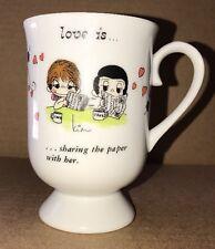Vintage LOVE IS coffee mug Kim Casali retro comic strip Sharing The Paper 1972