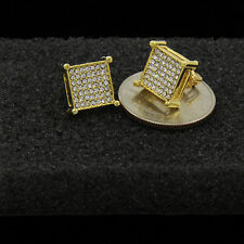 Men's Gold Plated Princess Cut Square 7 Line Cz Basket Screw Back Stud Earrings