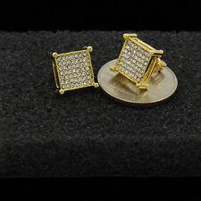 Line Cz Basket Screw Back Stud Earrings Men's Gold Plated Princess Cut Square 7