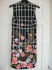 STUNNING ASOS MULTI COLOURED FLORAL BODYCON SUMMER PARTY WEDDING DRESS SIZE 4