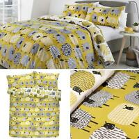 Ochre Duvet Covers Dotty Sheep Reversible Yellow Quilt Cover Bedding Sets