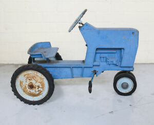 20th Century Blue Pedal Car Ertle Tractor Model F-68 Cast Iron