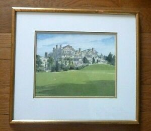 Davis Gray Framed Matted Watercolor print Grand Turreted Brick Golf Clubhouse
