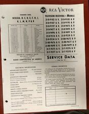 RCA VICTOR SERVICE DATA MANUAL TELEVISION 21-D 21-RD 21-T
