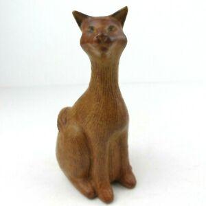 Lonkey Moor Studio Pottery Siamese Ginger Cat Figure Ornament LMP Mark Cornwall