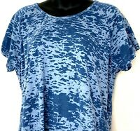 Woolrich Womens L Top Short Sleeve Shirt Burnout Print Blue Basic Cotton Blend