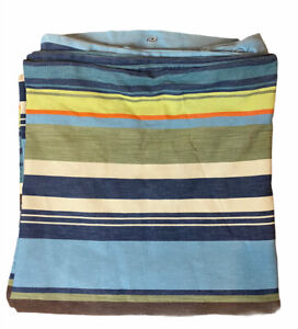 Pottery Barn Teen Full/Queen Striped Duvet Cover Blue Green Orange With Buttons