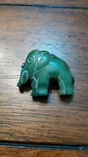 Elephant Brooch Made In Old Mexico Early Sterling Silver Green Onyx Hand Carved