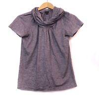 LAFAYETTE 148 NEW YORK Purple Cream Marled Cowl Neck Short Sleeve Blouse Medium