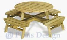 Traditional Round Picnic Table With Benches Out Door Furniture Plans #ODF04