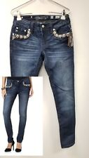 GORGEOUS NEW NWT~MISS ME Wild Flower Floral Pearl Mid Rise Skinny Jeans Size 27