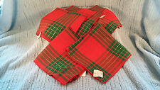 SET OF 5 CHRISTMAS FABRIC NAPKINS RED GREEN GOLD PLAID 1990'S NWT NEW WITH TAGS