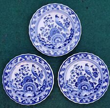 """3X DELFT BLUE WHITE PLATES WALL CHARGERS FLOWERS BIRD VINTAGE ANTIQUE 7.67"""""""