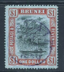 BRUNEI 1912 Brunei River $1 Black & Red on Blue Wmk Mult Crown CA SG 46 VFU