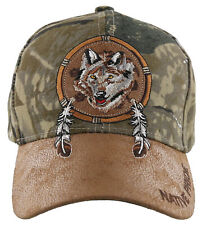NEW! NATIVE PRIDE WOLF FEATHERS FAUX LEATHER BASEBALL CAP HAT CAMO