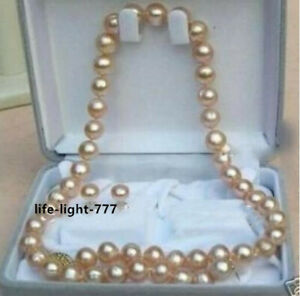 """18"""" AAA 9-10 MM SOUTH SEA NATURAL pink PEARL NECKLACE 14K GOLD CLASP + Earring"""