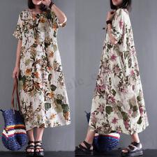 Women Cotton Ethnic Long Maxi Dress Floral Print Casual Party Kaftan Full Dress