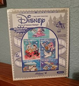 """Disney """"The World of Fantasy Stamps"""" Mickey in Space Maldive Islands Set #15"""