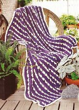 Pretty Variegated Open Stripes Afghan/Crochet Pattern Instructions Only