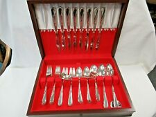 New Listing51pc Vintage Wm Rogers & Son Is Silverplate Spring Flower Pattern Flatware Set
